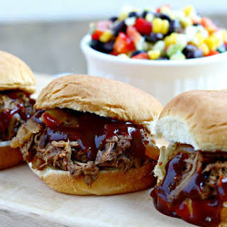Shredded Barbecue Beef Sliders {Slow Cooker}.