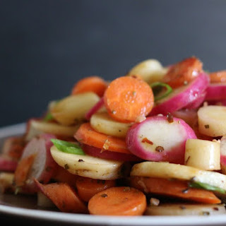 Sauteed Parsnips, Carrots & Watermelon Radish