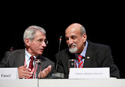 Anthony Fauci, left, director of the National Institute of Allergy and Infectious Diseases in the US, with former ministerial advisory committee chairperson Prof Salim Abdool Karim.