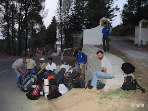 Photo: Waiting for 5am bus, in front of Pithoragarh KMVN