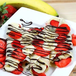 Strawberry & Banana Nutella Pancakes.