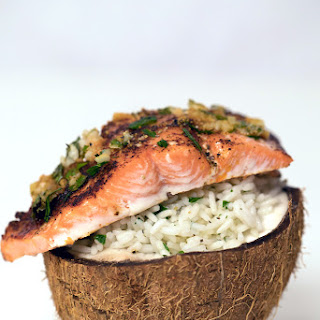 Chili Lime Salmon Over Coconut Rice.