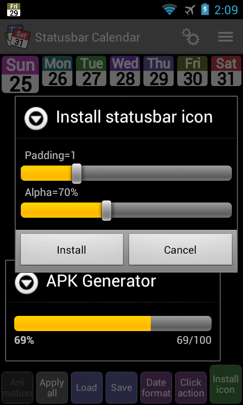 Status bar Calendar Demo- screenshot