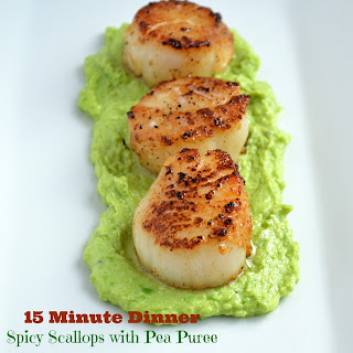 Spicy Seared Scallops with Pea Puree.