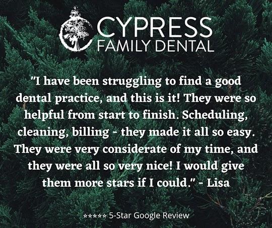 Cypress Family Dental 5-Star Google Review