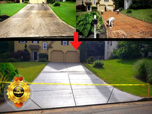 concrete driveway replacement with broom and picture frame finish