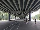 Спорт-площадка под Эстакадным мостом на фото Калининграда