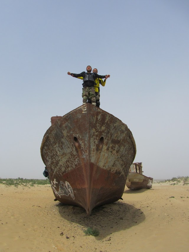 Rusty ships in the sand of Aral