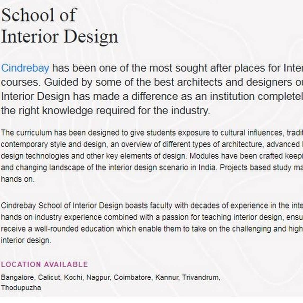 Cindrebay School Of Fashion Interior Design Fashion Design In Ernakulam Interior Design In Ernakulam Film Animation In Ernakulam