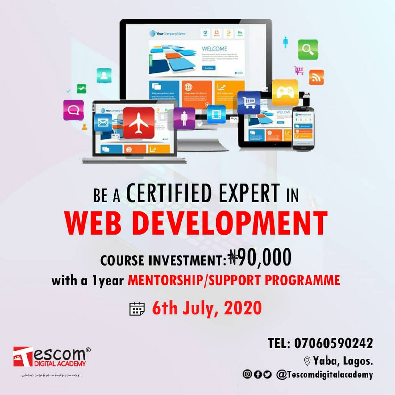 Tescom Digital Academy Web Design And Development Graphic Design Training Digital Marketing Training Course In Lagos Nigeria Educational Institution In Lagos