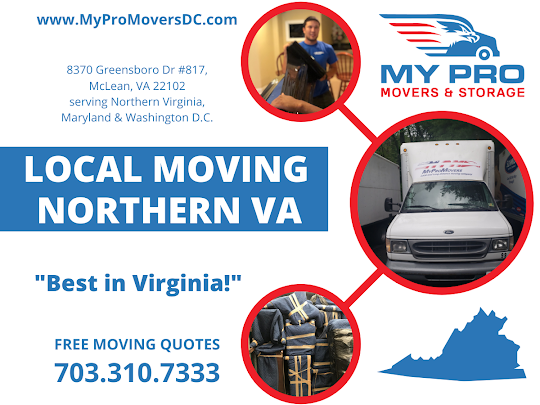 MyProMovers Northern Virginia, the most affordable moving company in the area that offers flexible scheduling options for both residential and commercial moves of all sizes.