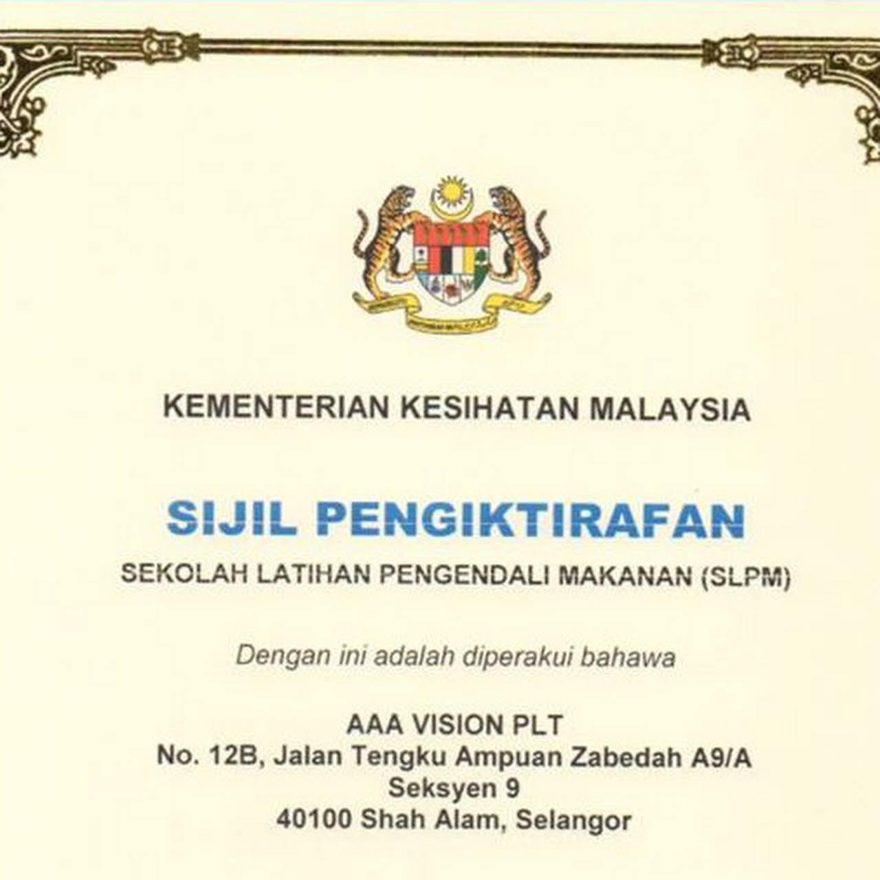 Kursus Pengendalian Makanan Klang Shah Alam Aaa Vision Academy Training Centre In Sungai Udang