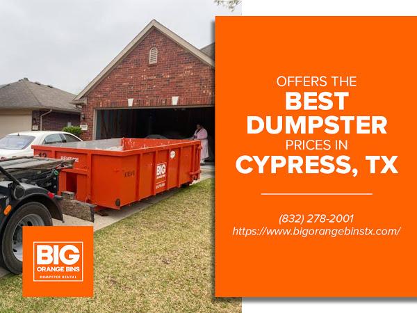 Big Orange Bins Dumpster Rental Cypress TX