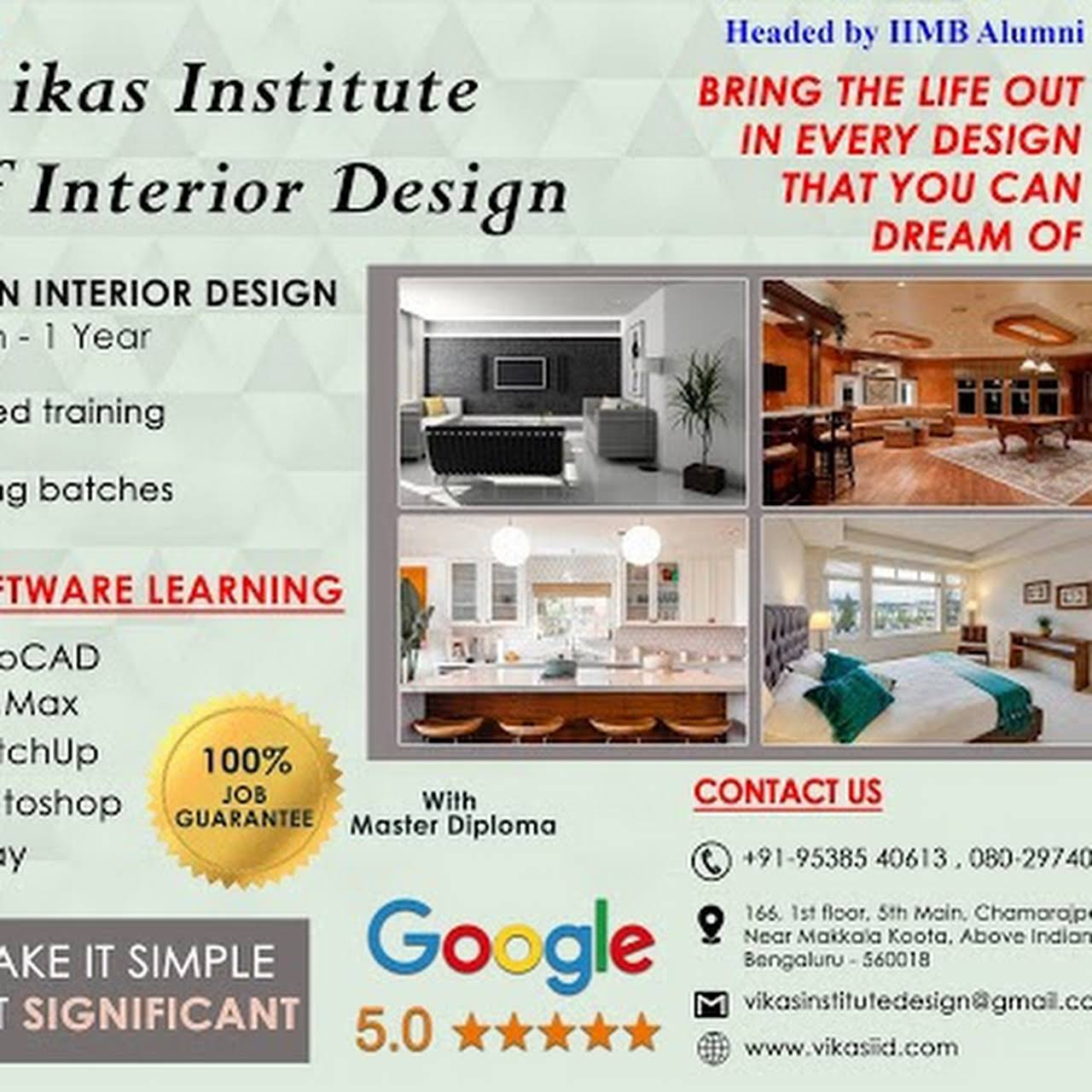 Vikas Institute Of Interior Design Headed By Iimb Alumnus Interior Design Training Center In Bangalore