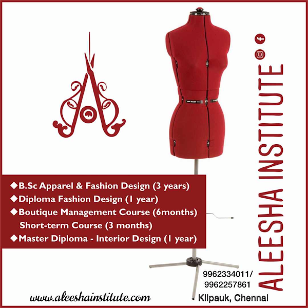 Aleesha Institute Of Fashion Designing Fashion Interior Design Bsc 1yr Diploma 6 3months Certified Courses Online Classes Weekend Part Time Classes Available