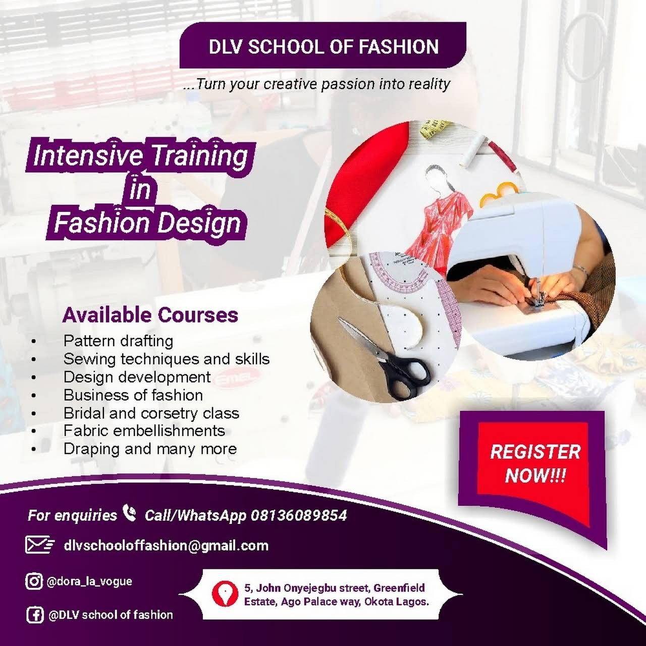 Dlv School Of Fashion Fashion Design School In Lagos