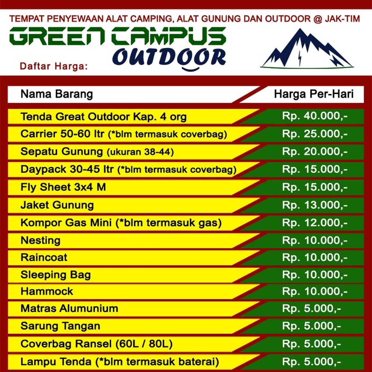 Green Campus Outdoor Layanan Rental Alat Gunung Camping