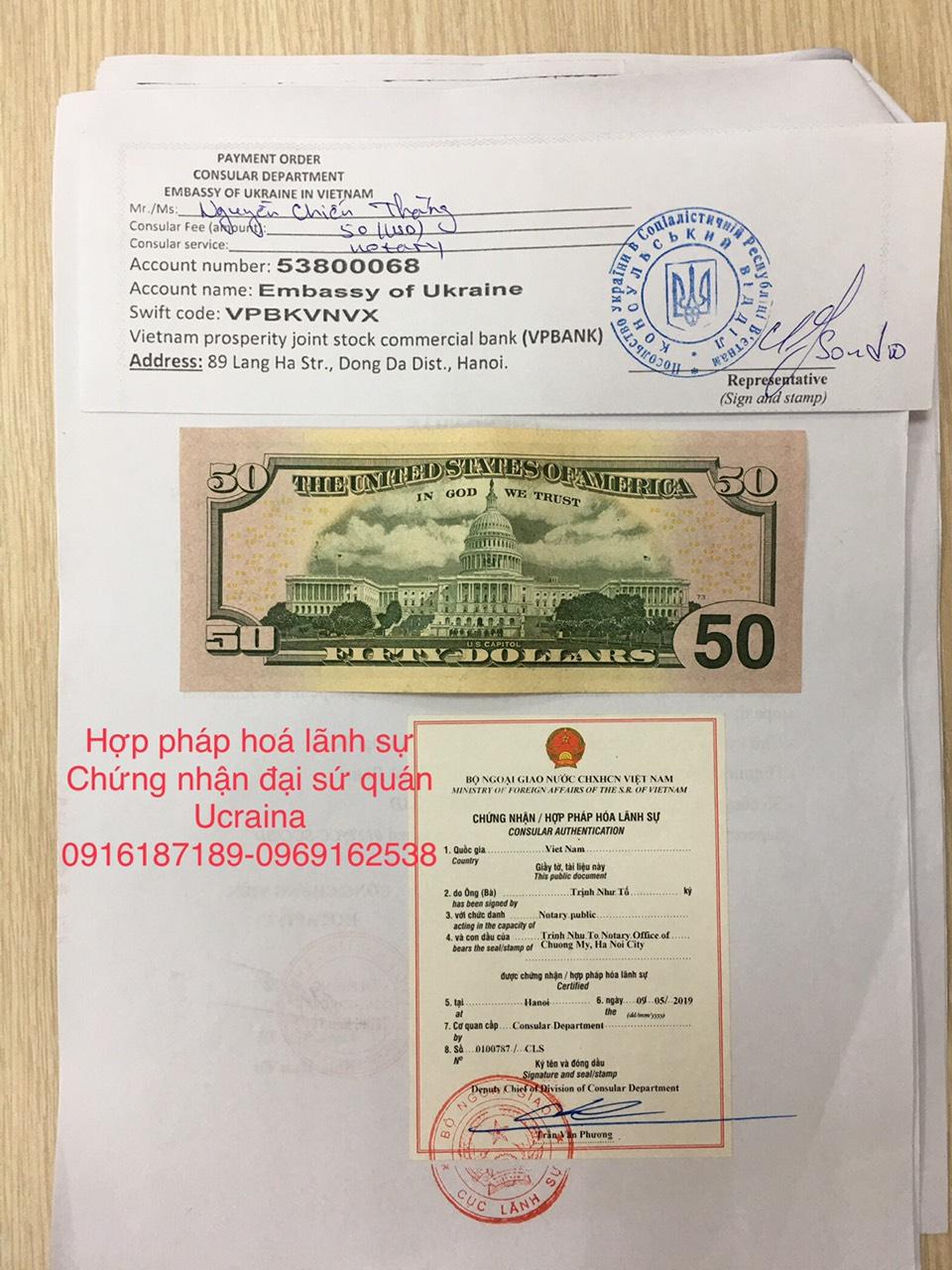 Chứng nhận hợp pháp hóa lãnh sự ĐSQ Ucraina - Ukraine Embassy