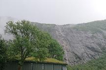 Månafossen falls and Mån farm, Gjesdal Municipality, Norway