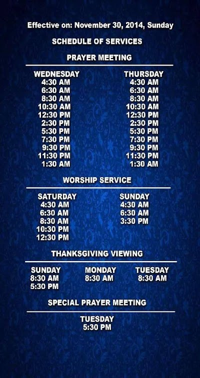 ang dating daan worship schedule