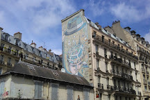 Fresque < Paris dans la tete >, Paris, France