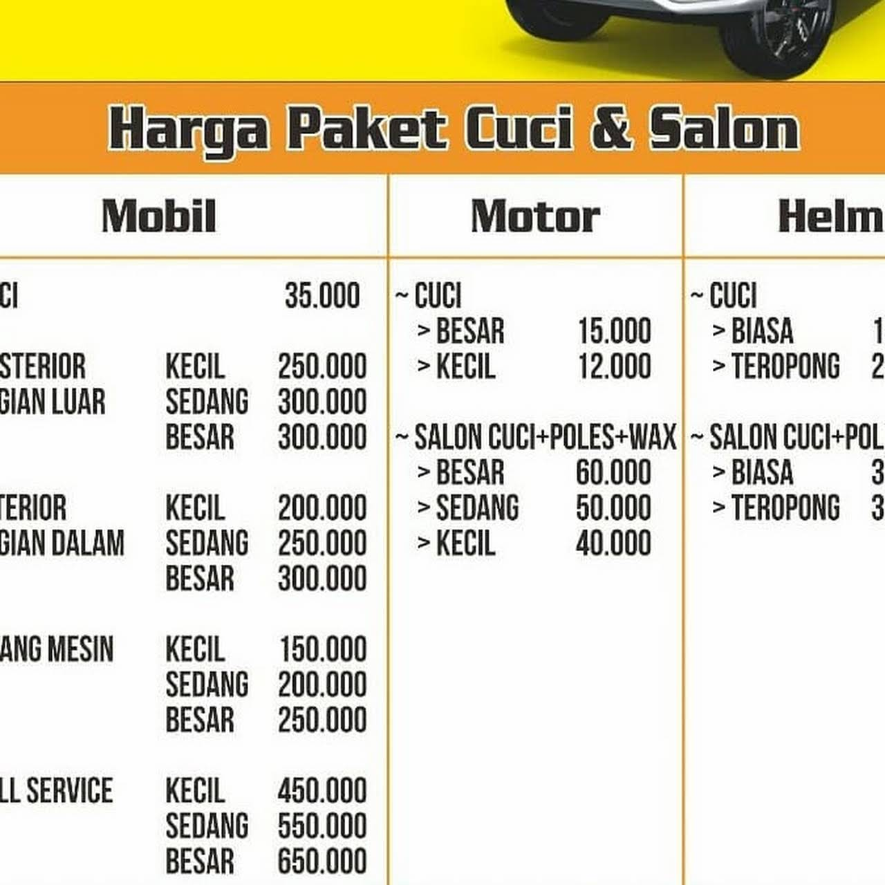 Vip 2 Cuci Salon Mobil Motor Helm Tempat Pencucian Mobil Dan Motor