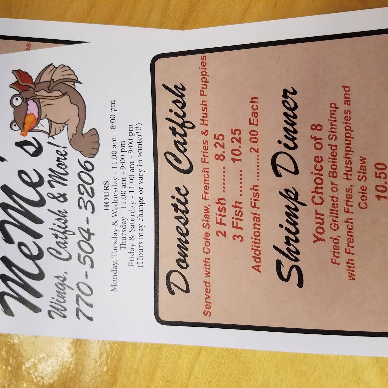 Meme S Wings Catfish More Restaurant In Jenkinsburg