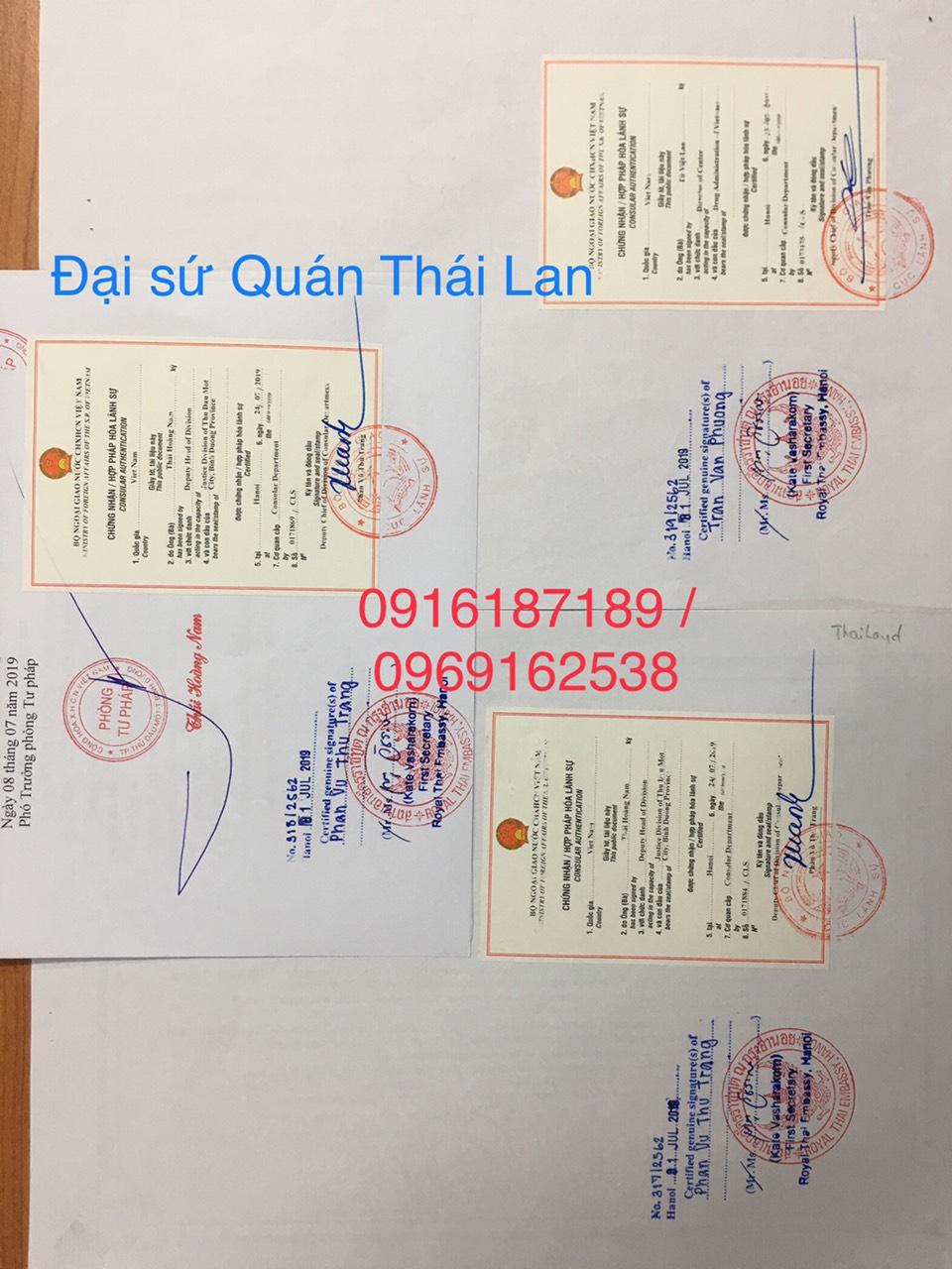 Chứng nhận hợp pháp hóa lãnh sự đại sứ quán Thái Lan
