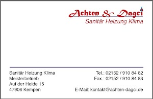 Achten & Dagci - Heizung-, Sanitär-, Klimatechnik in Kempen