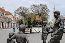 Puskás Ferenc szoborcsoport, Budapest, Hungary