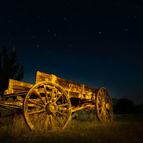 The Wagon by Jim O'Neill - Artistic Objects Other Objects ( light painting, fort davis, wagon, night sky photography, prude ranch )