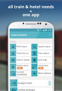 indian rail train info hotels- screenshot thumbnail