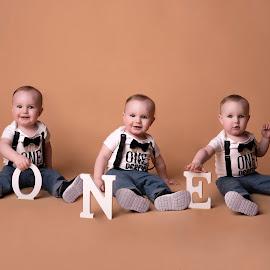 Griffin One by Nicole Ferris - Babies & Children Toddlers ( studio, baby boy, children, composite, first birthday, sitting, smile )