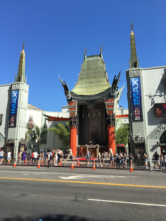 The Chinese Theater setting up for a red carpet movie premier.