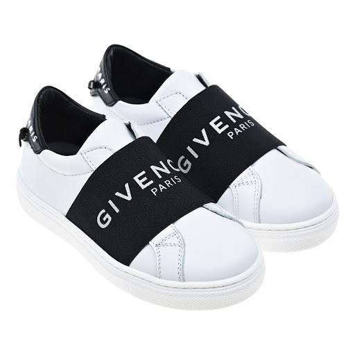 Кожаные кеды без шнуровки детские Givenchy H19014 M41 NOIR BLANC купить