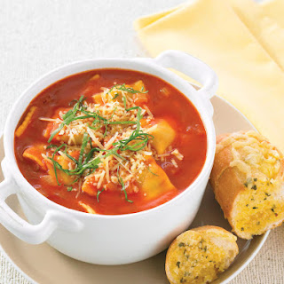Tomato Pasta Soup with Garlic Bread