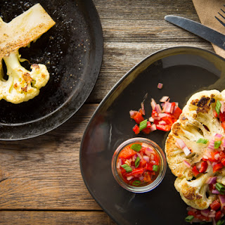 Cauliflower Steak with Roasted Red Pepper & Caramelized Onion Relish