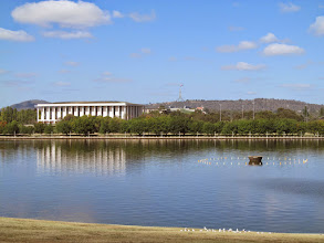 Photo: National Library of Australia and Parliament House across Lake Burley Griffin