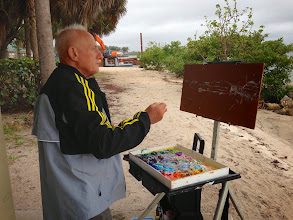 Photo: Al Biegel painting At the Boynton Inlet 1-9-14