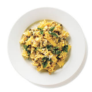 Campanelle with Eggs and Capers.