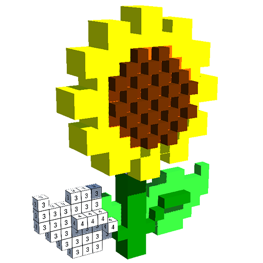 Flowers Mandala 3D Color by Number: Voxel Coloring Icon