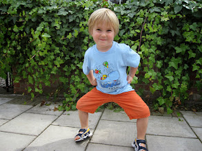 Photo: Soren seems pleased with the T-shirt from Faial, Azores!