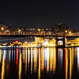 Peoria Illinois by Darrin Ralph - City,  Street & Park  Night ( reflection, night photography, night, bridge, river, nightscape )
