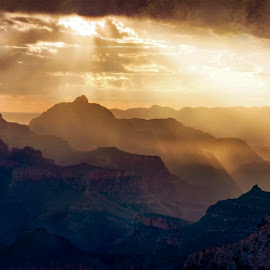 Story Canyon Sunrise by Joan Sharp - Digital Art Places ( art filter, sunrise, storm, dark, grand canyon,  )