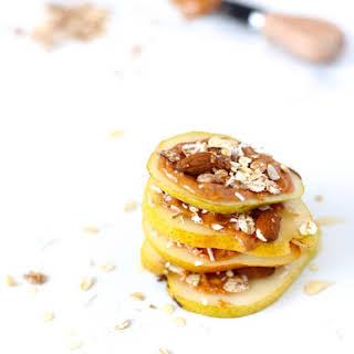 Pear & Almond Butter Muesli Snack Stacks.