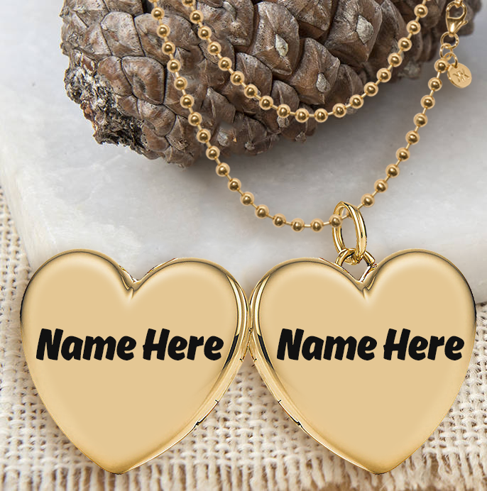 WRITE NAME ON Write Couple Name On Heart Shape Chain Locket PICS