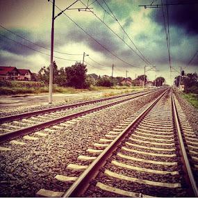 Tracks to Sky by Nat Bolfan-Stosic - Transportation Railway Tracks ( clouds, sky, village, railway, tracks )