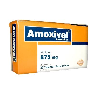 Amoxicilina Amoxival 875mg x 20 Tabletas Valmor