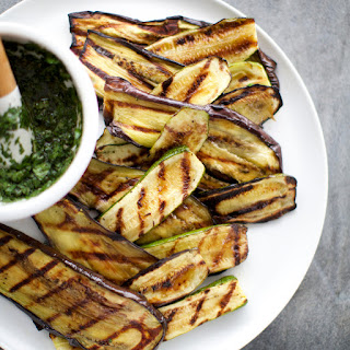 Grilled Eggplant and Zucchini Salad with Salsa Verde.