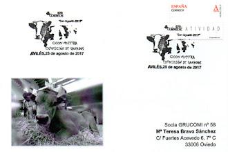 Photo: Tarjeta del matasellos del 135 Muestra exposición del ganados en Avilés